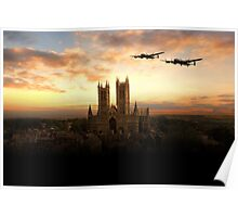 Lancs over Lincoln  Poster