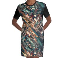 Melting Copper Abstract  Graphic T-Shirt Dress