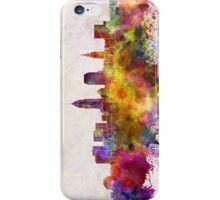 Cleveland skyline in watercolor background iPhone Case/Skin