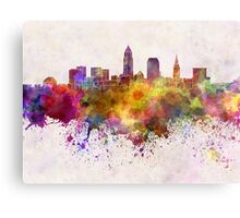 Cleveland skyline in watercolor background Metal Print
