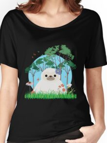 Super Cute White Sloth sitting down Women's Relaxed Fit T-Shirt