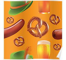 Oktoberfest repeating pattern Poster