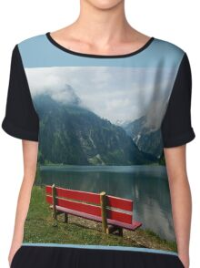 Red bench with a view Women's Chiffon Top
