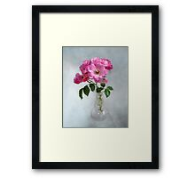 Deep Pink Roses in a Clear Glass Vase Framed Print