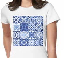 Indigo Watercolor Tiles Womens Fitted T-Shirt