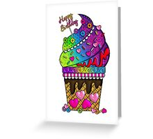 Happy Birthday Ice Cream Cone Greeting Card