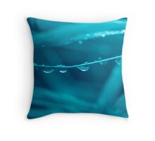 fresh morning dew in blue Throw Pillow