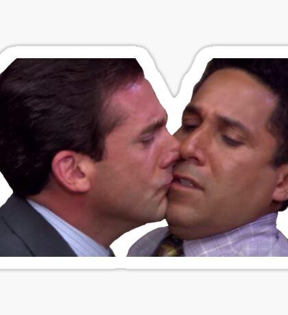 Michael and Oscar Kissing Sticker