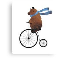 Cheltenham the Bear: Penny farthing fun Canvas Print
