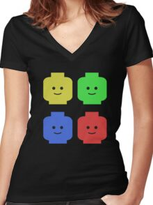 Lego Heads Women's Fitted V-Neck T-Shirt