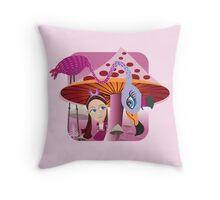Alice in Mushroom land Throw Pillow