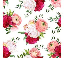 Burgundy red and white peonies, ranunculus, rose seamless vector pattern.  Photographic Print