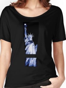 "Pixels Print ""LADY LIBERTY BLUE"" Women's Relaxed Fit T-Shirt"