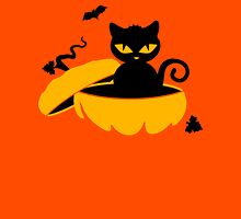 Cat Sits In A Pumpkin Womens Fitted T-Shirt