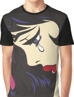 Black Curl Crying Comic Girl Graphic T-Shirt