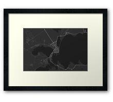 Burgas, Bulgaria Map. (White on black) Framed Print