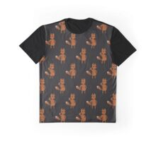 Pixel Art Dancing Swag Fox Pattern Graphic T-Shirt