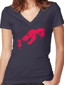 Girl With Trex Women's Fitted V-Neck T-Shirt