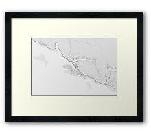 Dubrovnik, Croatia Map. (Black on white) Framed Print