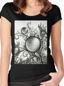 Harmonic, Ink Drawing Women's Fitted Scoop T-Shirt