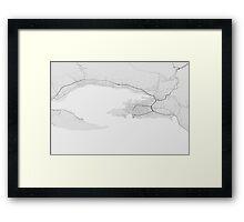 Split, Croatia Map. (Black on white) Framed Print