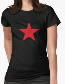 Distressed Red Star Womens Fitted T-Shirt