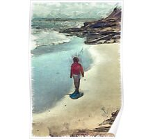 Woman Walking on the Beach PEI Poster