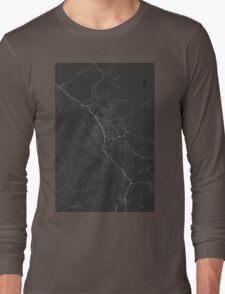 Liberec, Czech Republic Map. (White on black) Long Sleeve T-Shirt