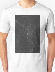 Liberec, Czech Republic Map. (White on black) Unisex T-Shirt