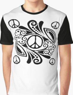Peace Symbol Love Flower Graphic T-Shirt