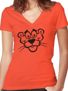 Panther Face Women's Fitted V-Neck T-Shirt