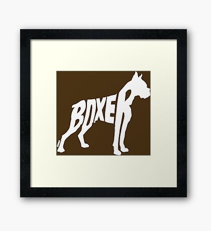 Boxer White Framed Print