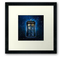 Space And Time traveller Box With yellow stained glass Framed Print