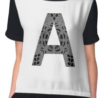 Grey,Gray,Black,Letter,Initial,A,Alphabet,Lace Chiffon Top