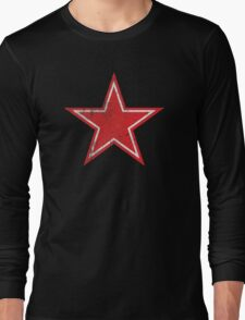 Red Star Distressed Long Sleeve T-Shirt