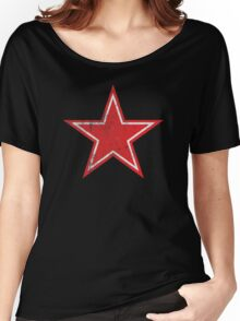 Red Star Distressed Women's Relaxed Fit T-Shirt