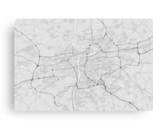 Prague, Czech Republic Map. (Black on white) Canvas Print