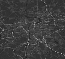 Prague, Czech Republic Map. (White on black) by Graphical-Maps