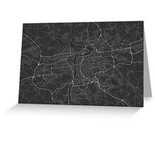 Prague, Czech Republic Map. (White on black) Greeting Card