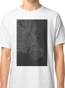 Copenhagen, Denmark Map. (White on black) Classic T-Shirt