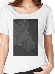 Copenhagen, Denmark Map. (White on black) Women's Relaxed Fit T-Shirt