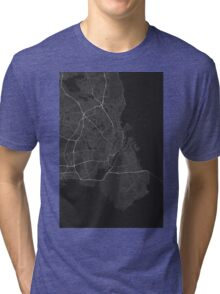 Copenhagen, Denmark Map. (White on black) Tri-blend T-Shirt