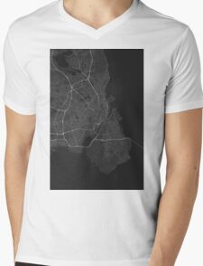 Copenhagen, Denmark Map. (White on black) Mens V-Neck T-Shirt