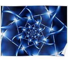 Electric Blue Spiral Fractal  Poster
