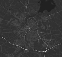Odense, Denmark Map. (White on black) by Graphical-Maps