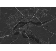 Silkeborg, Denmark Map. (White on black) Photographic Print
