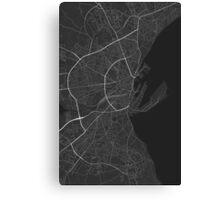 Aarhus, Denmark Map. (Black on white) Canvas Print