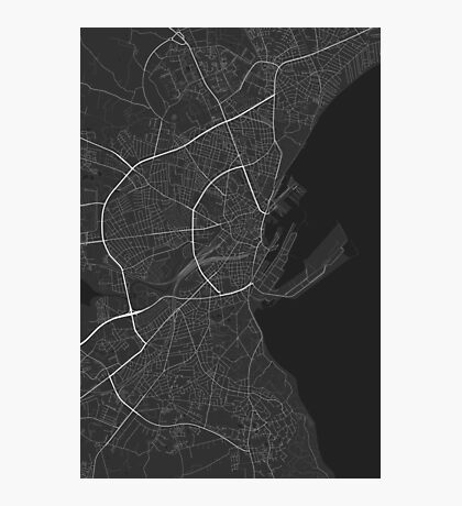 Aarhus, Denmark Map. (Black on white) Photographic Print