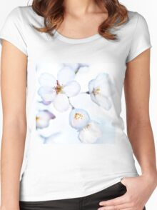 Flowers of Japanese cherry blossom art photo print Women's Fitted Scoop T-Shirt