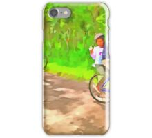 Family cycling on a dirt track iPhone Case/Skin